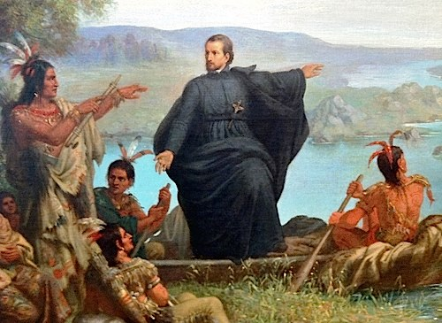 Painting of Father Jacques Marquette preaching to Native Americans. 1869.