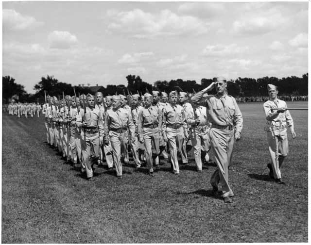Flag Day at Fort Snelling, 1942. Source: MNHS Collections.