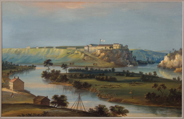 Fort Snelling at Bdote, painted by John Casper Wilder, ca. 1844.
