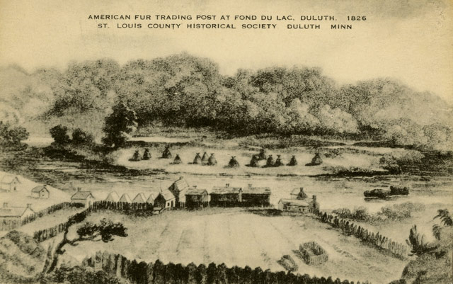 American Fur Trading Post at Fond du Lac, Duluth, 1826.