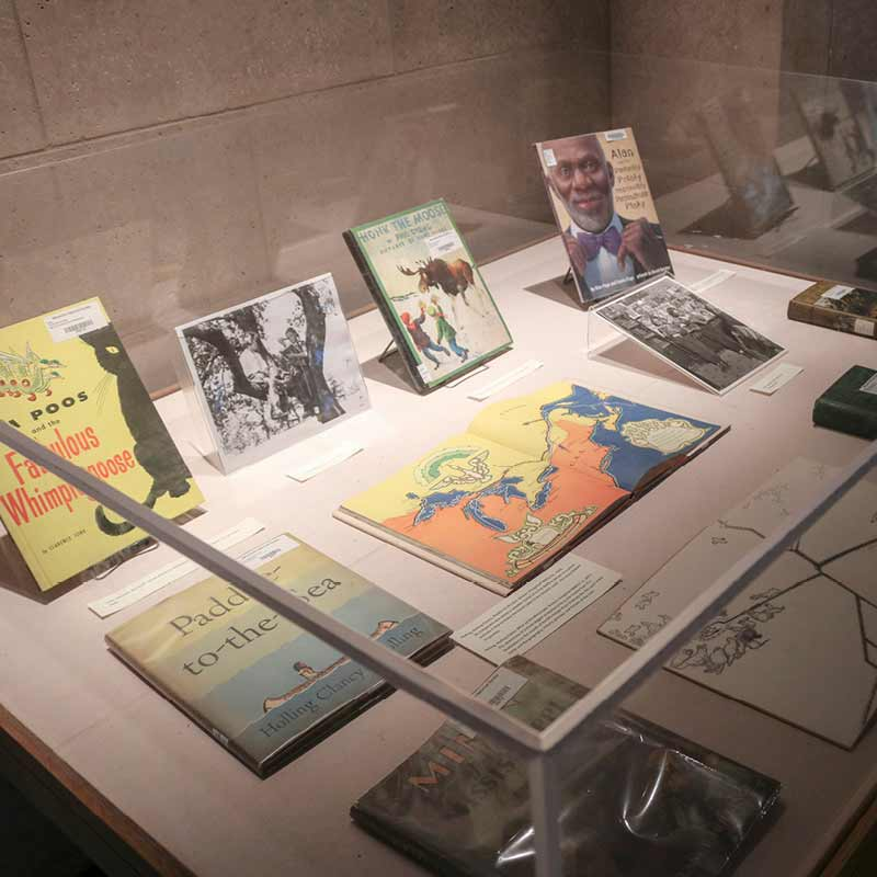 A display case with a collection of children's books.