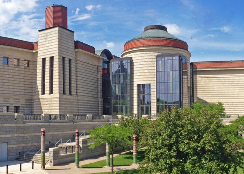 Exterior view of the Minnesota History Center under a blue sky.