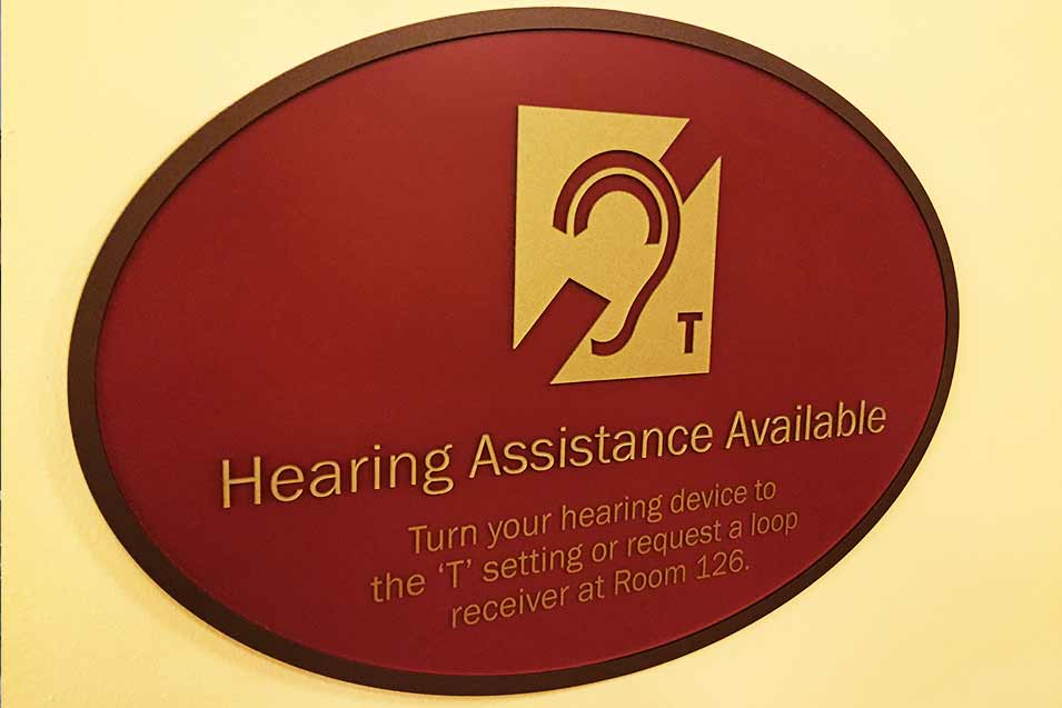 Hearing assistance available sign