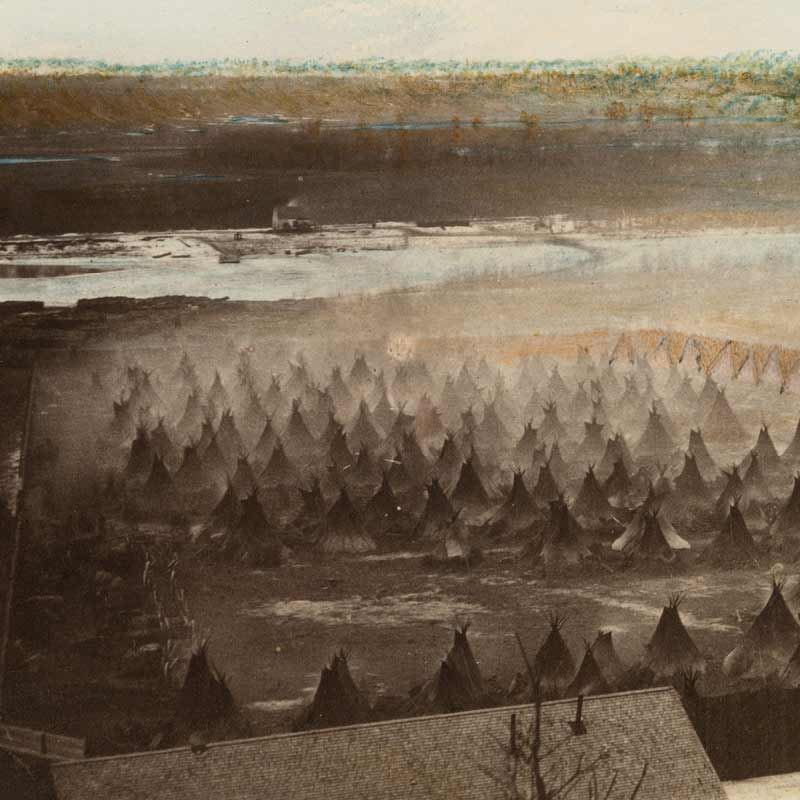 """us dakota war Dakota war of 1862 chief taoyateduta, known as chief little crow """"riggs and williamson mission workers and their families, plus men who worked at the govt sawmill on hazel creek fleeing the fighting at the start of the us dakota war of 1862""""."""