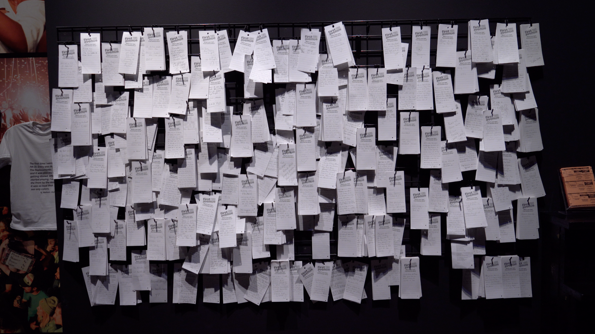 Comment cards on a wall.