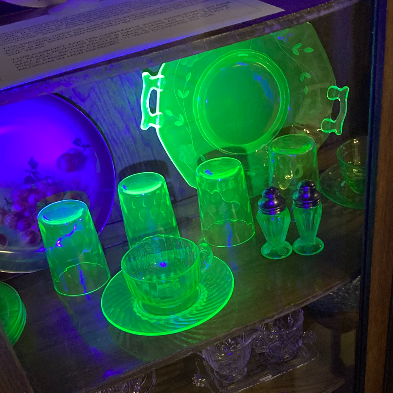 Black light photograph showing glassware in a museum case glowing bright green.