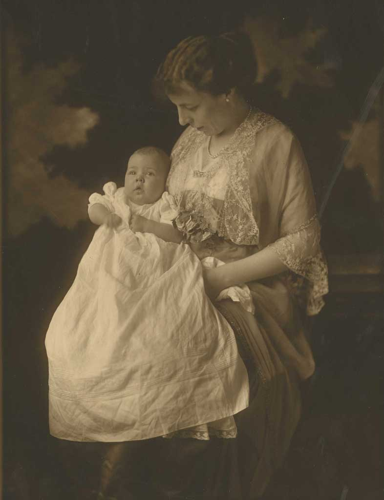 Portrait of Rachel holding baby Mary