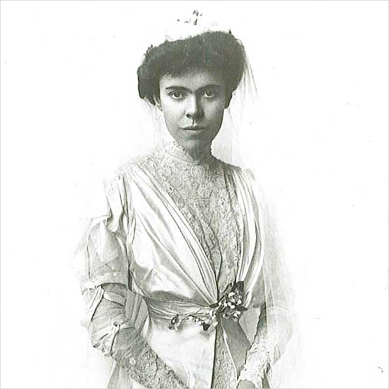 Gertrude Hill in her wedding dress