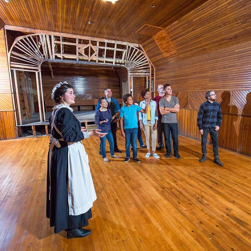 Tour guide dressed as maid leading group through large paneled room