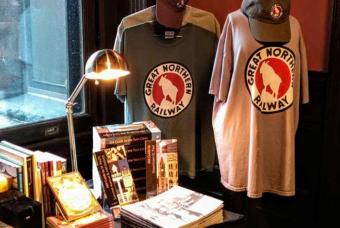 Books, t-shirts, and hats in the gift shop