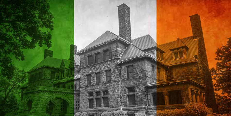 The Hill House, with a green stripe overlaid on the left and an orange stripe on the right to look like the Irish flag