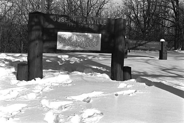 Joseph Renville marker at Lac qui Parle Mission site, Jack Renshaw, 1971.