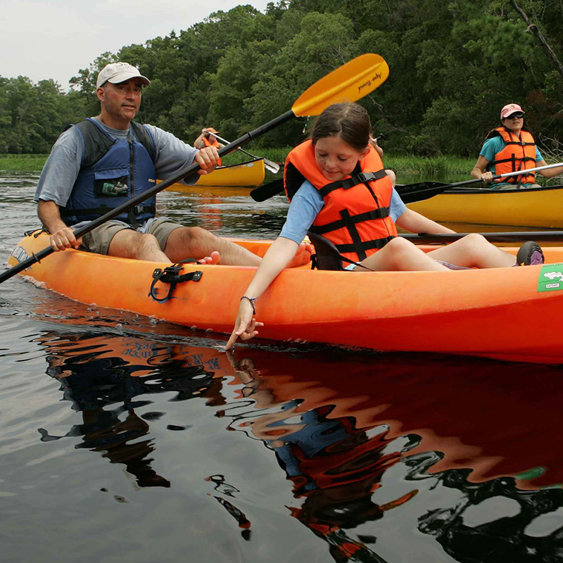 A small group of people kayaking on a river.