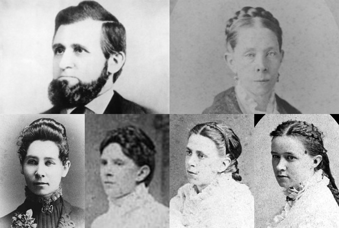 Collage of Oliver Kelley, his wife, and their four daughters