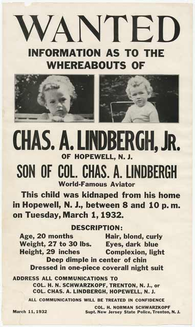 Lindbergh kidnapping wanted poster. Source: MNHS Collections.