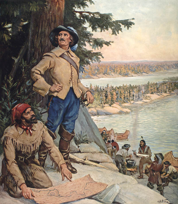 Color reproduction of a painting entitled La Vérendrye at the Lake of the Woods.