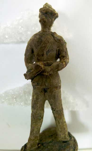 Lead toy soldier found during excavations at Fort Snelling, 1971. Source: MNHS Collections.