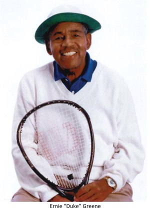 Ernie Greene holding tennis racket