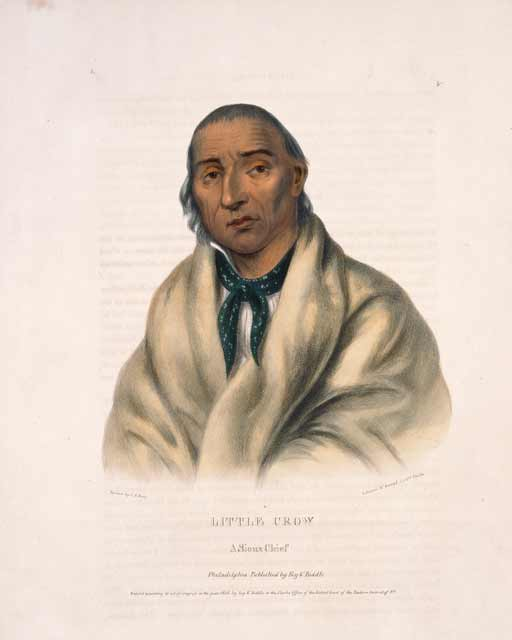 Cetan Wakuwa Mani (Hawk that Hunts While Walking) or Little Crow, leader of the Bdewakantunwan Dakota village of Kap'oza. Lithograph by Charles Bird King, 1836. Source: MNHS Collections.