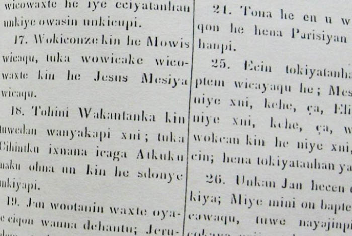 Historical photo of Dakota text.