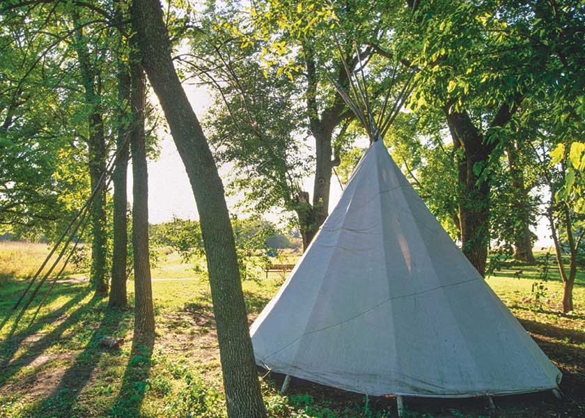 Morning sunlight shines on Lower Sioux Agency community tipi in forest.