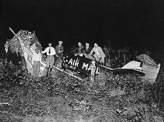 Crash of a mail plane piloted by Charles Lindbergh.