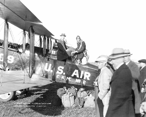 Charles Lindbergh Jr. in US Air Mail service plane
