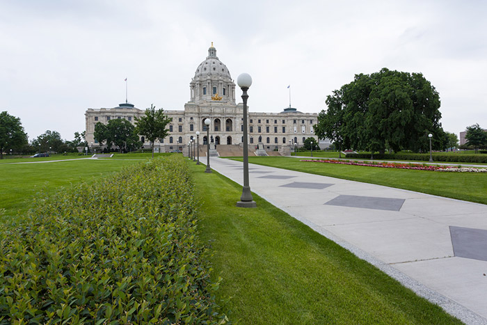Minnesota State Capitol with lawn in front.