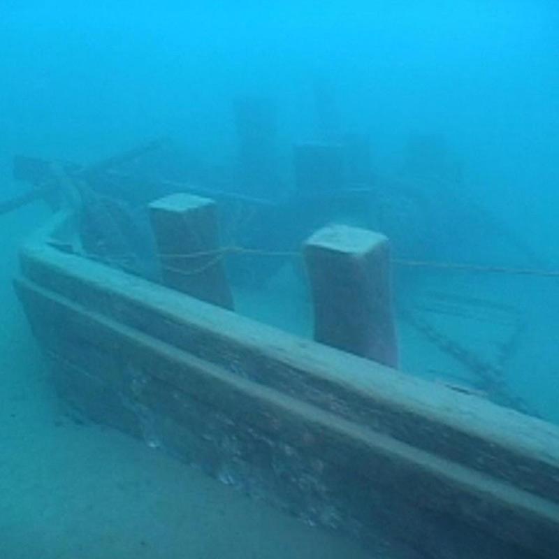 A ship on the lake floor