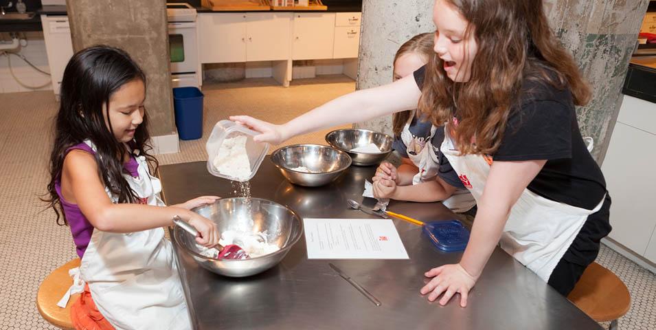 kids making cookies.