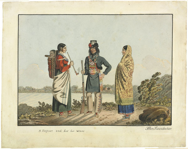 A Métis and his two wives, Peter Rindisbacher, ca. 1825-1826
