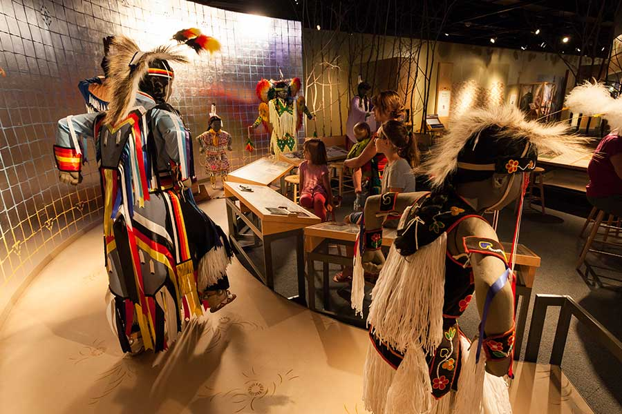 Interiors view of the Mille Lacs Indian Museum with models in traditional Ojibwe clothes.