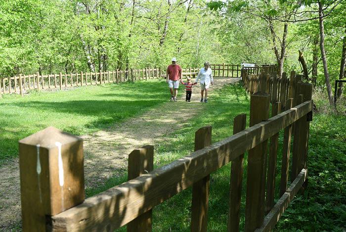 Family walking along dirt walk-way.