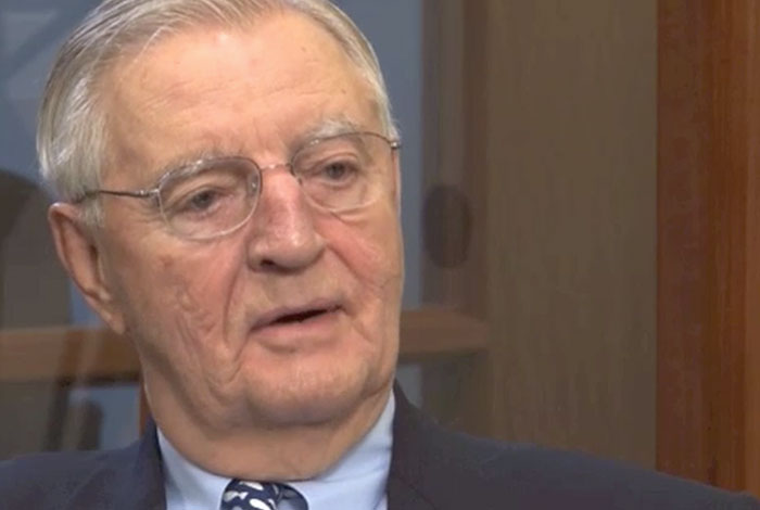 Walter F. Mondale still shot during interview.