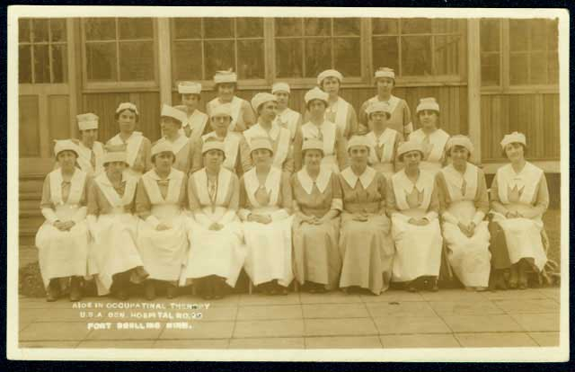 Occupational therapy aids at General Hospital 29, about 1919. Source: MNHS Collections.