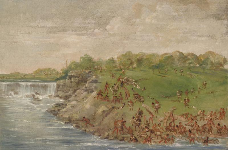 """Ojibwa Portaging Around the Falls of St. Anthony,"" oil on canvas by George Catlin, 1835–1836."