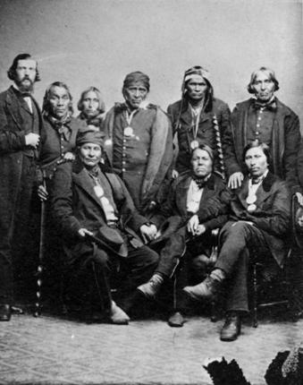 Ojibwe men, possibly at 1857 or 1862 treaty signing in Washington D.C.