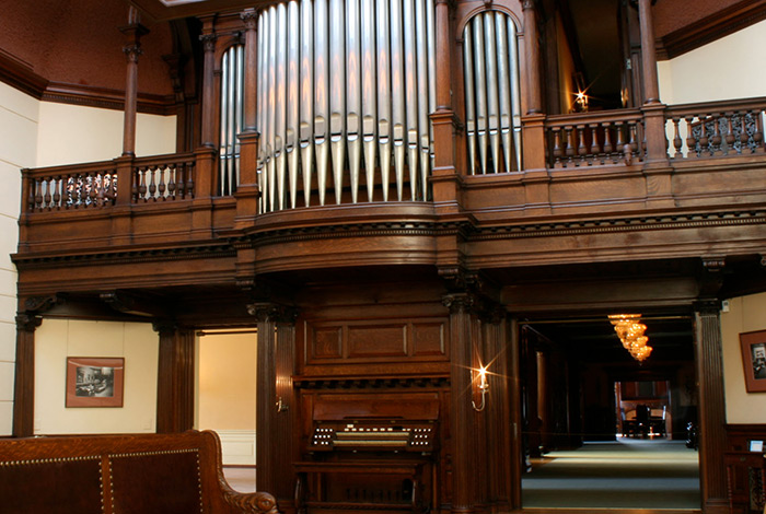 The organ on the lower level, and the pipes on the upper level