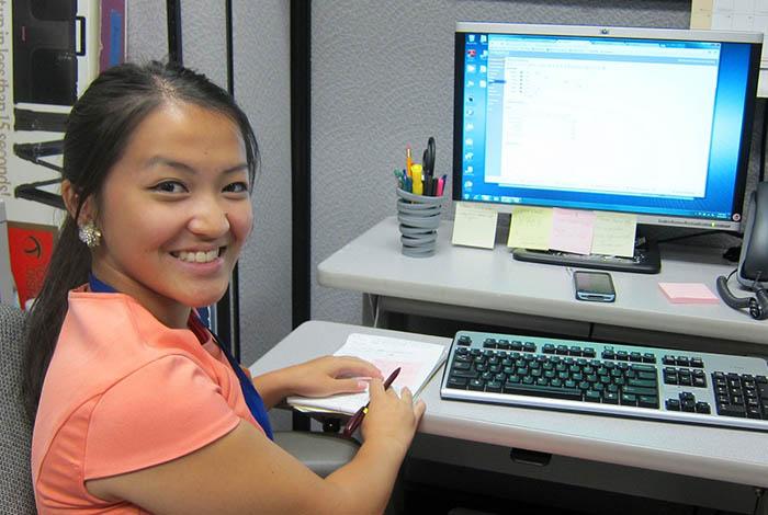 Girl at a computer.