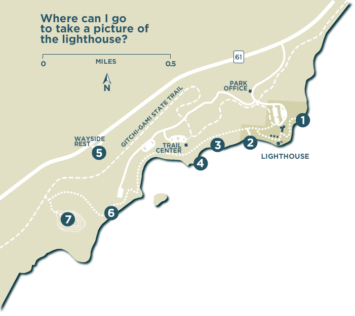 Map of the park and lighthouse, with seven iconic photography spots marked (descriptions below)