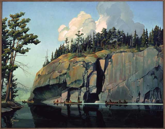 """Picture Rock at Crooked Lake,"" also called ""Return of the Voyageur,"" by Francis Lee Jaques, 1947. Source: MNHS Collections."