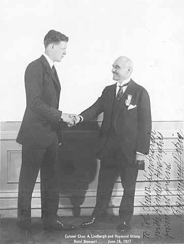 Charles A. Lindbergh with Raymond Orteig.