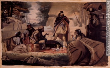 Radisson & Groseillers Established the Fur Trade in the Great North West, 1662, by Archibald Bruce Stapleton 1917-1950, 20th century.