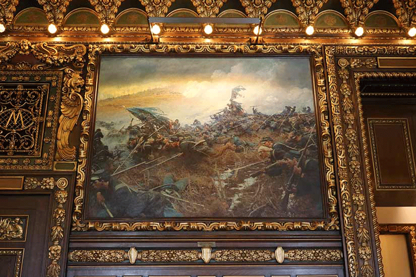 Looking up at one of the Civil War paintings on the wall