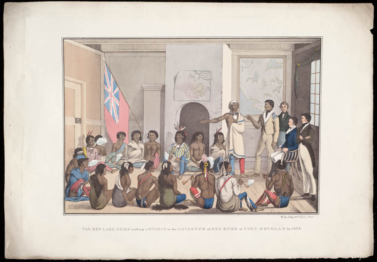 The Red Lake Chief making a Speech to the Governor of Red River at Fort Douglas, Peter Rindisbacher, 1825.