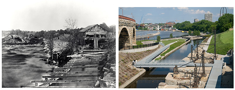 Photo illustration of Minneapolis Riverfront Then and Now