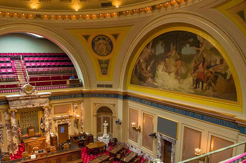 Facing the north wall of the Senate Chamber from the viewing platform