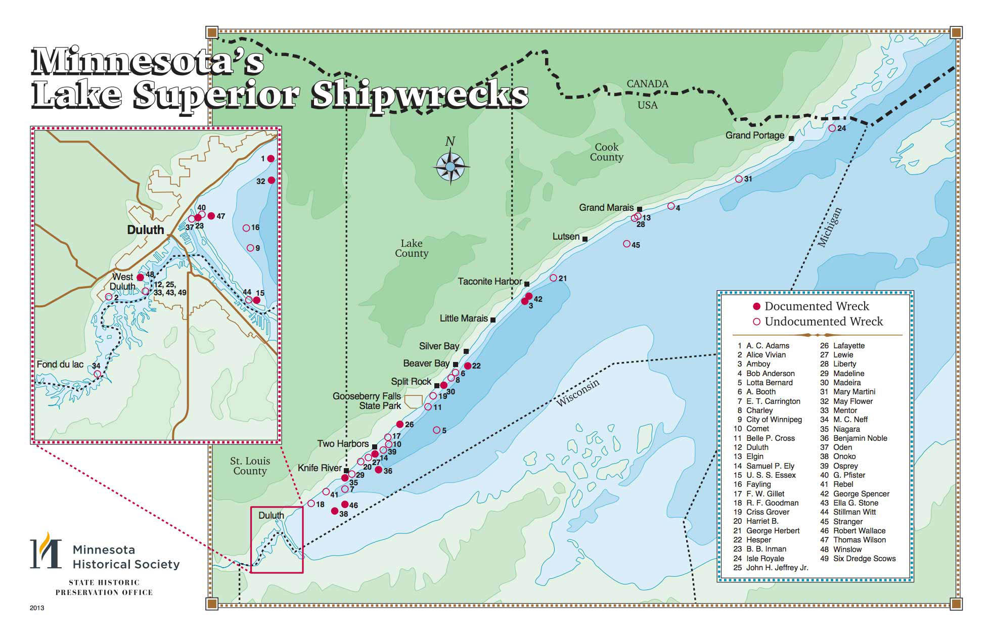 Thumbnail of Minnesota's Lake Superior Shipwrecks, each a dot near the shoreline. Inset of Duluth.