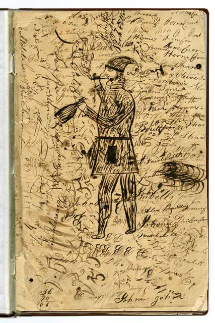 Sketch of a fur trader from the journal of Alexis Bailly, about 1830s. Source: MNHS Collections.