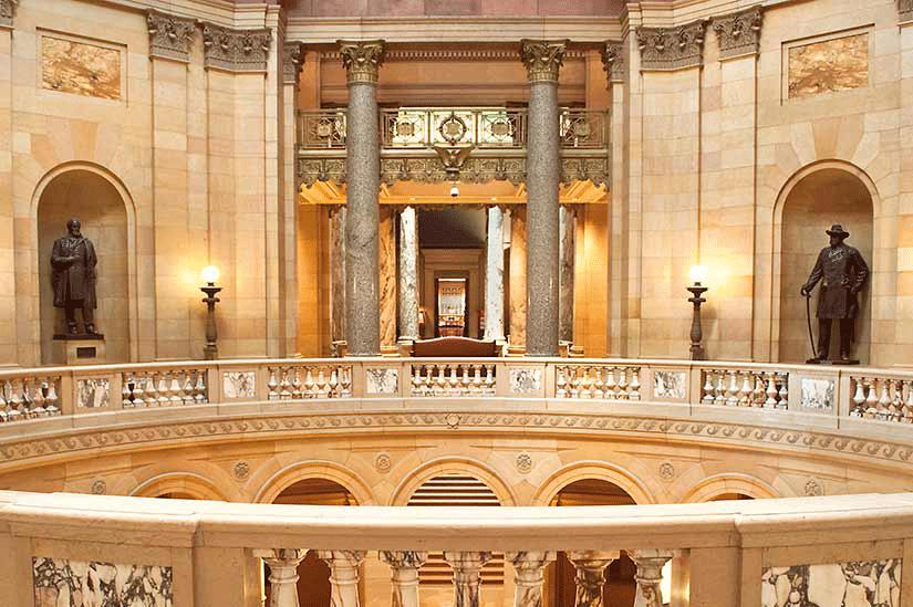 Looking across the rotunda on the second floor